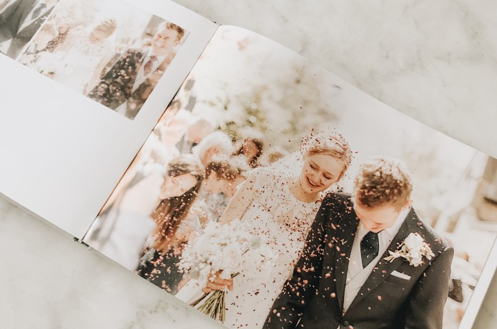 Wedding album open to lay flat