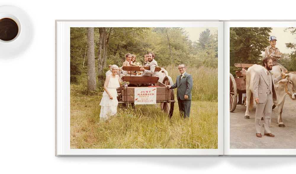 Photo book with old family photos.