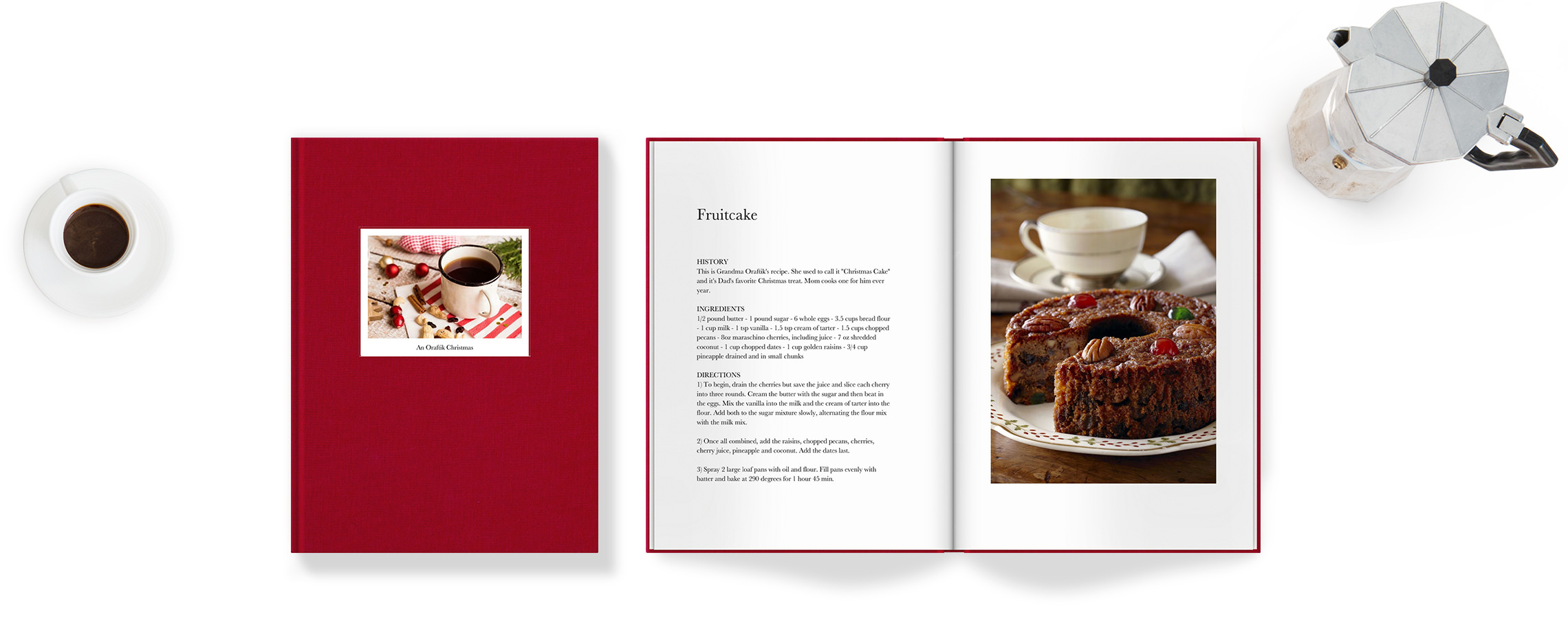 Classic photo book with family recipes.