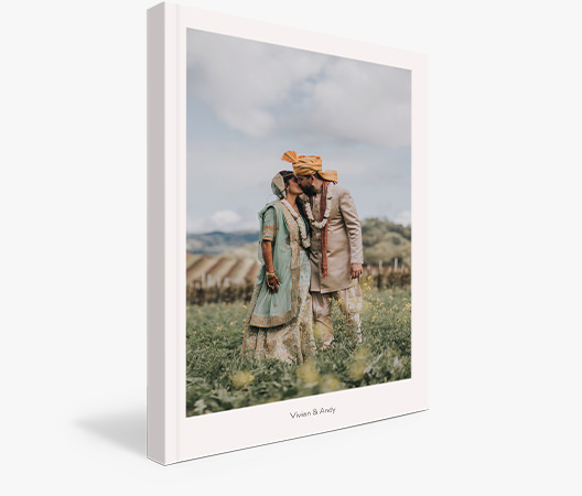 Wedding Luxe Softcover Photo Book with cover image of newlywed couple