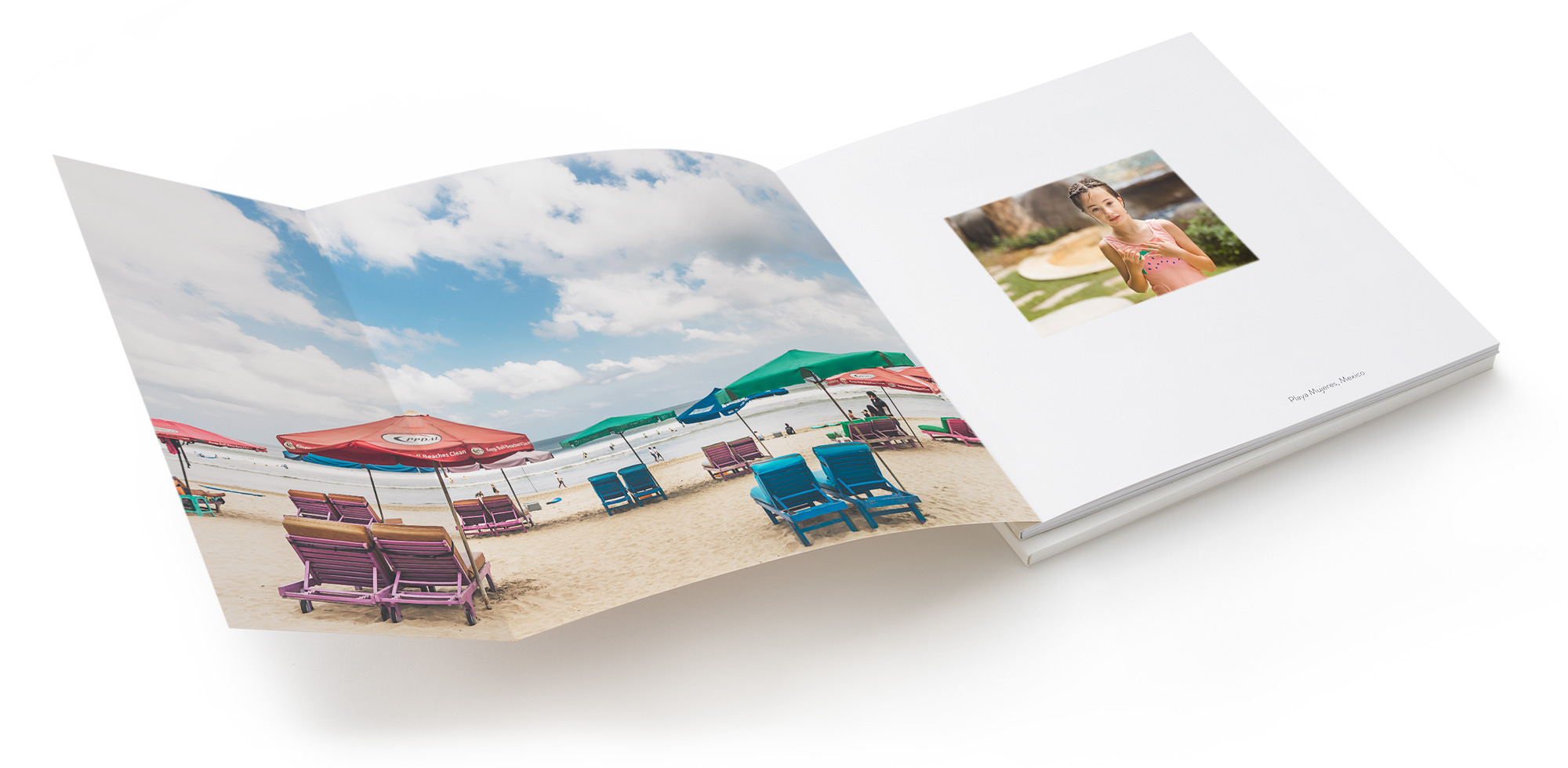 Open Luxe Softcover Photo Book showing fully extended inside cover with beach image