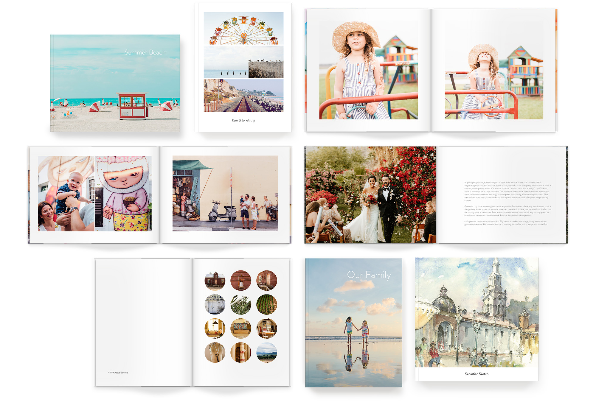 Eight Luxe Softcover Photo Books showing a variety of designer template options