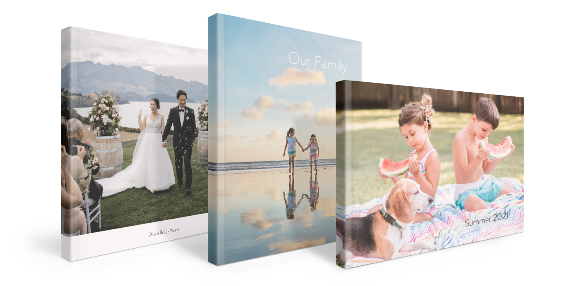 Three Luxe Softcover Photo Books standing side by side
