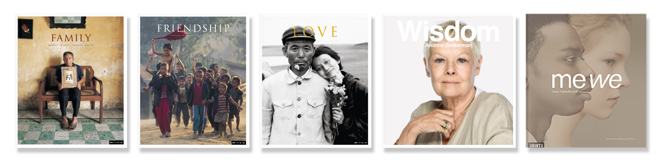 Row of FAMILY, FRIENDSHIP, LOVE, Mandela and Diana The Portrait books.