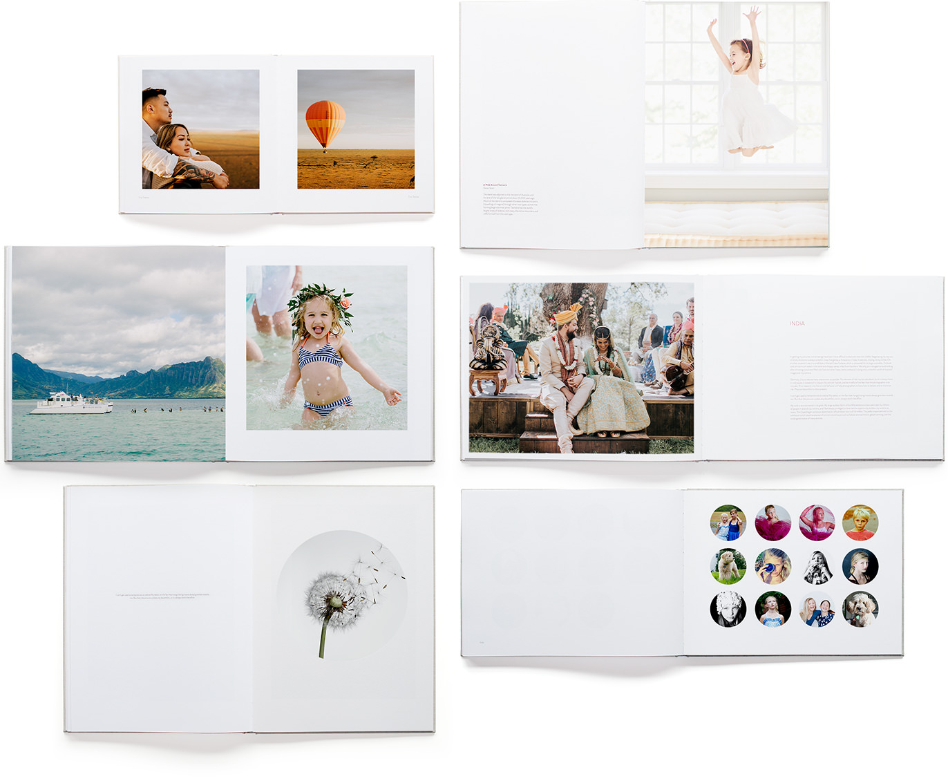 Range of classic photo books with various spread designs.
