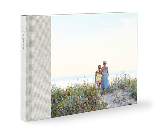 Premium linen family landscape photo book with a mother and daughter on the cover.