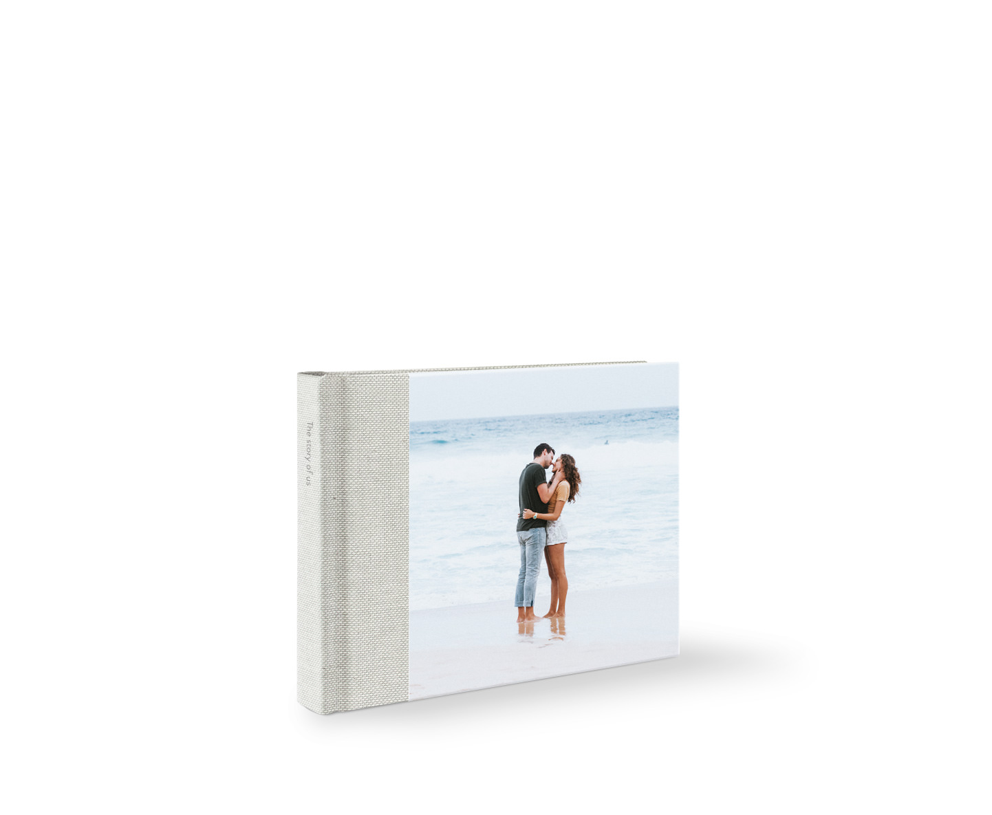 Premium medium landscape photo album with cover photo of a couple embracing on the beach