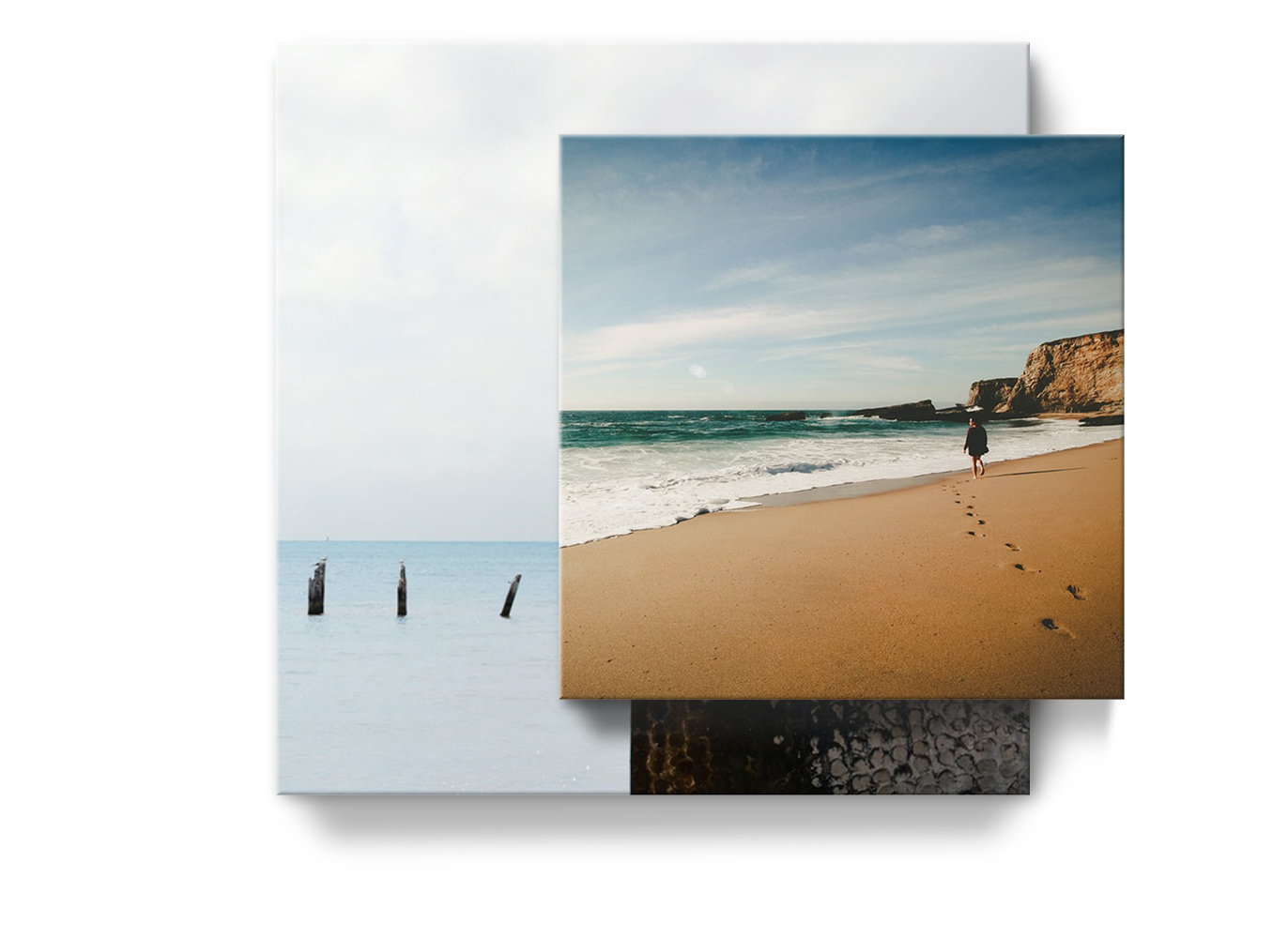 Two square canvas prints overlapping each other. One medium and one large.