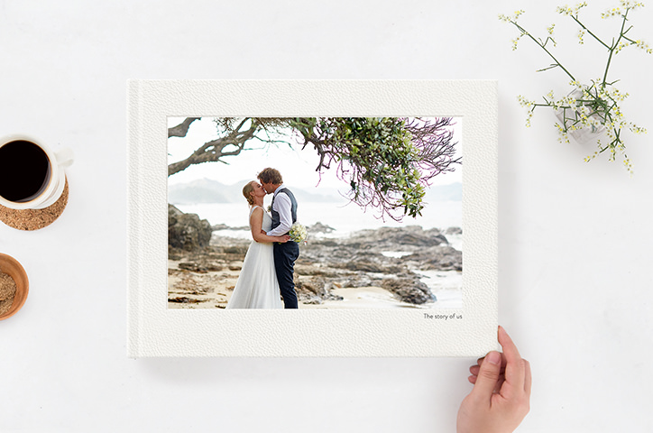 Landscape Wedding Album with couple on the cover