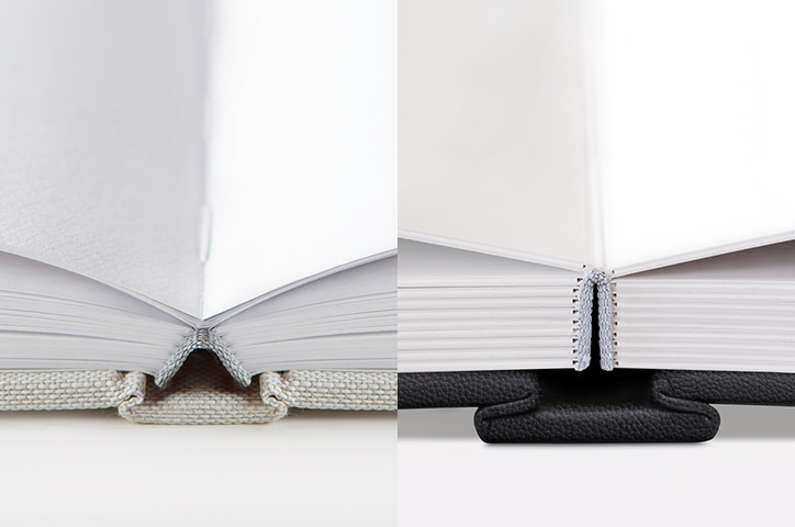 Close up of binding and paper type of photo book and photo album.