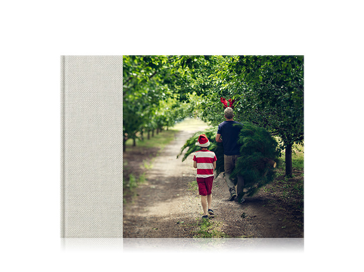 Premium Landscape Photo Book with natural linen cover and 3/4 wrap image