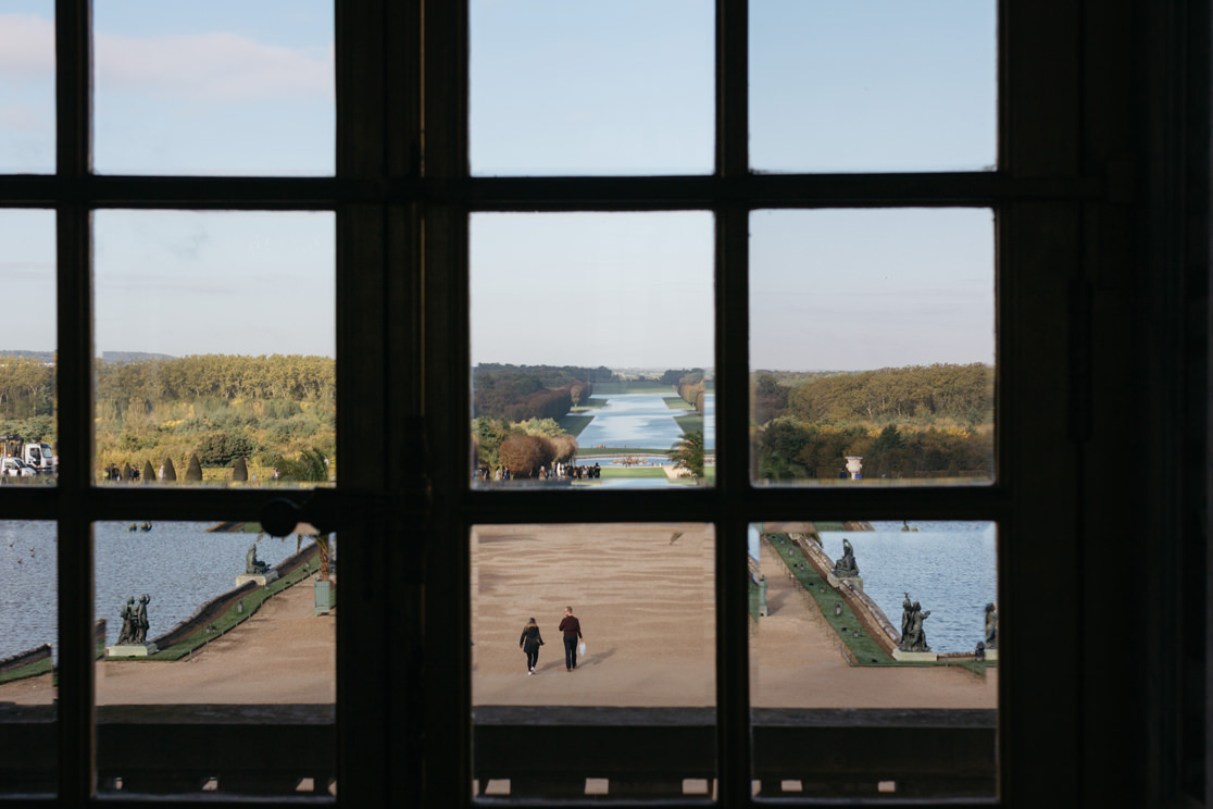 View of the lake through some windows.