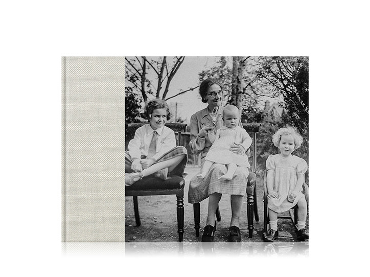 Premium Photo Album with old black and white family photo on cover