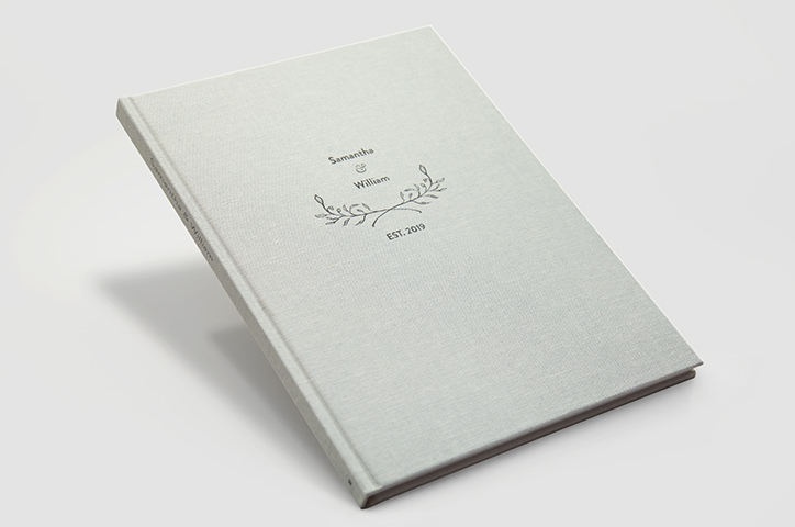 Grey linen premium portrait wedding photo album with a designer cover.