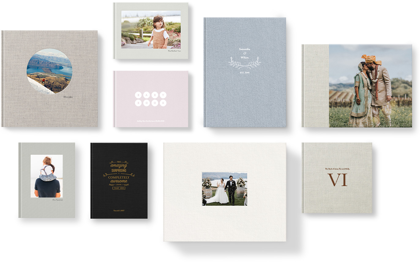 Variety of premium photo albums showing different cover fabrics and cover deisgns.