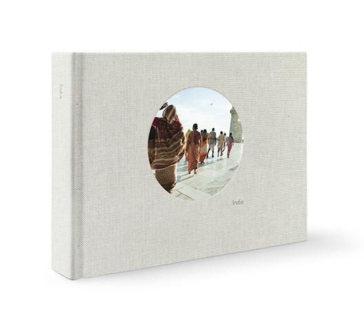 Premium Large Landscape Photo Album with travel photography on cover.