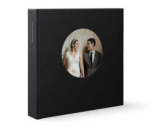 Black leather square photo album