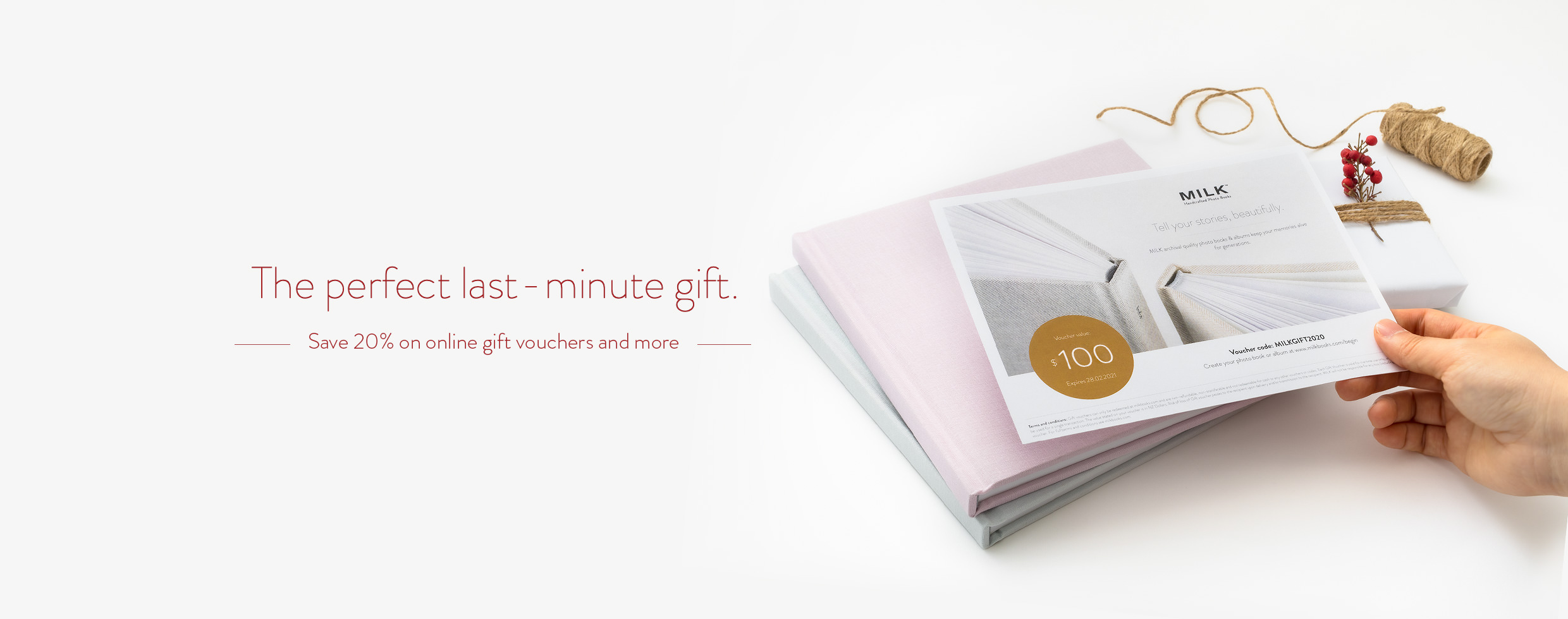 The perfect last minute gift. Save 20% on online gift vouchers and more.