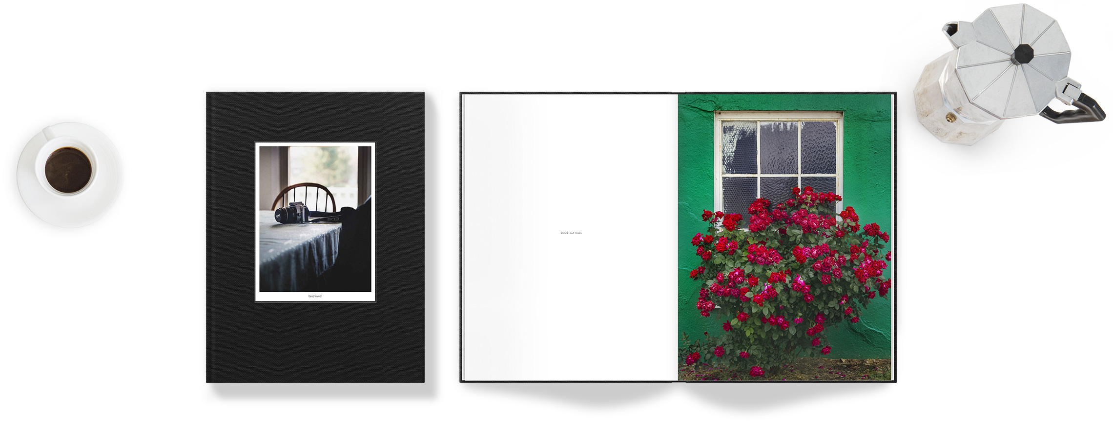 Portrait photo book with photography images.