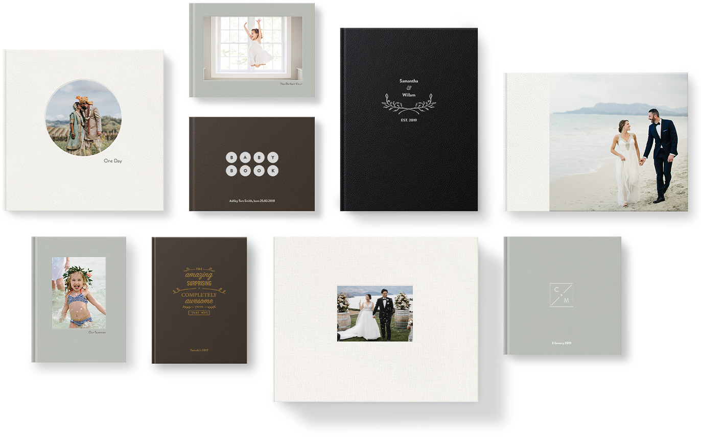 Variety of premium leather photo albums showing different cover leathers and cover designs