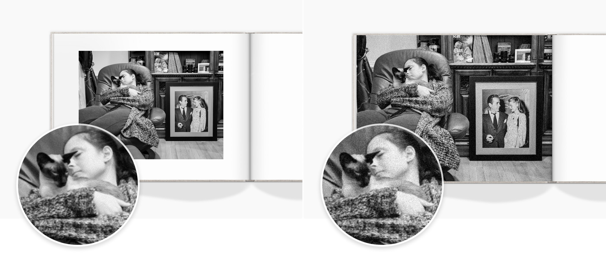 Two photo books open with a black and white image of a lady holding her cat on an armchair in her house.