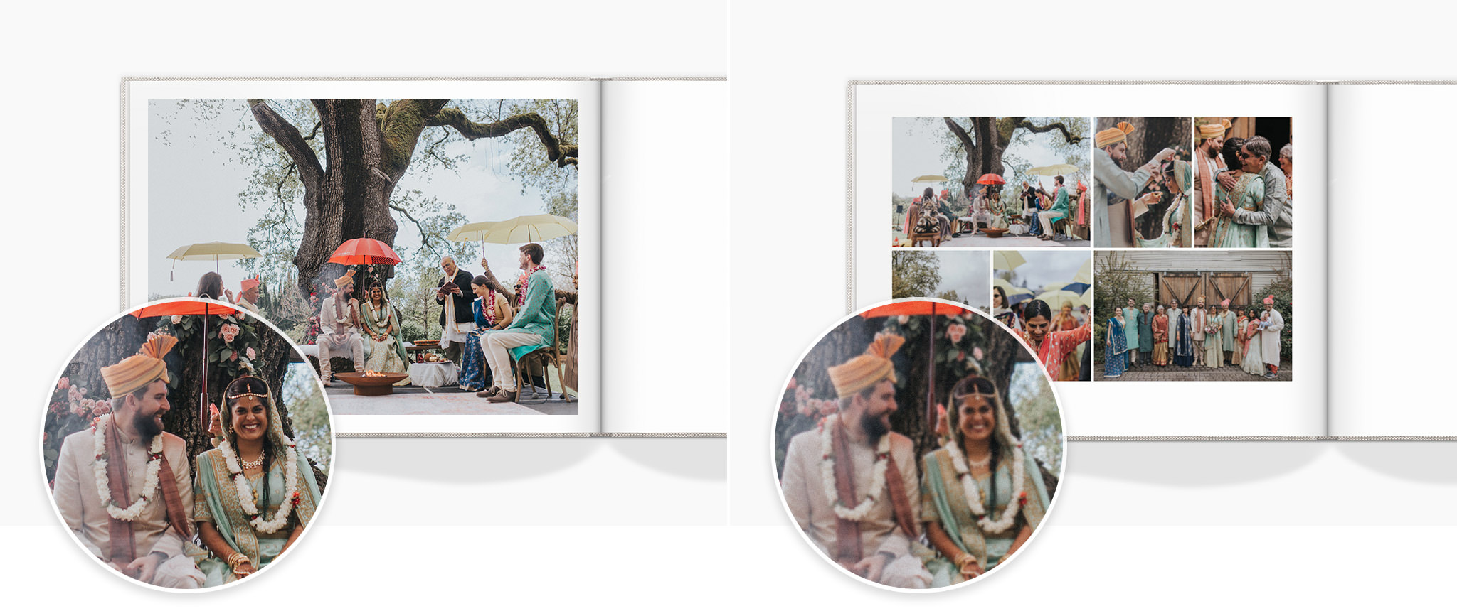 Two photo books open to a spread with of beautiful wedding photos