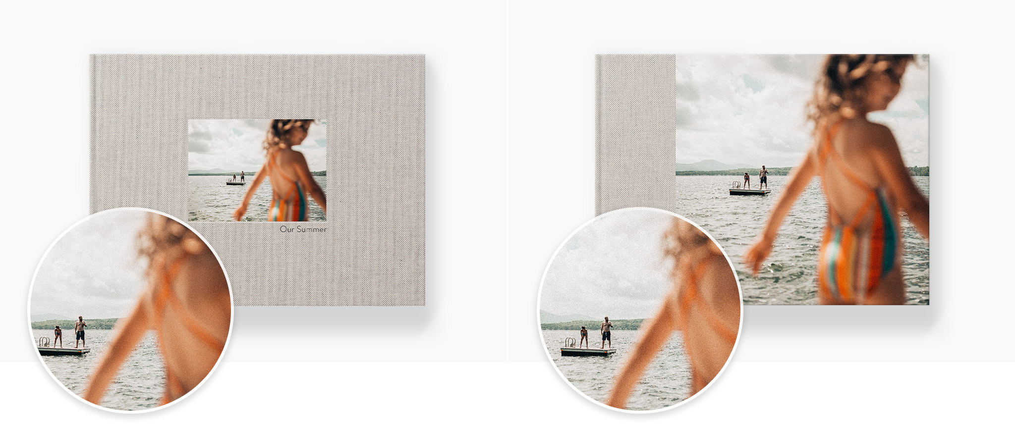 Two photo books with cover images  of a girl at a beach that have a soft focus in the foreground