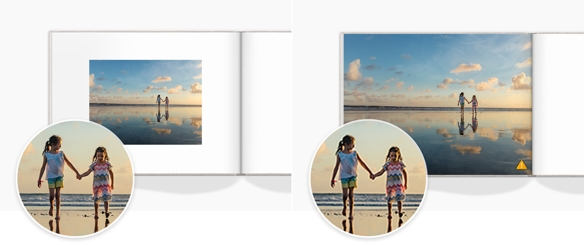 Two photo books open with an image of two young girls walking and holding hands on a beach