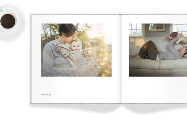 Square Photo Book with family image on the spread.